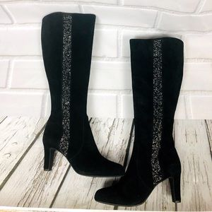 Alex Marie black Suede boots 2in heel